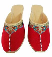 Women Slippers Indian Handmade Velvet Red Clogs Jutties UK 7.5 EU 42