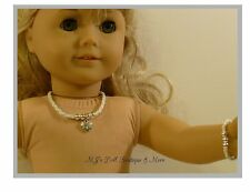 White Heart Rhinestone Necklace & Bracelet Set fits American Girl Doll