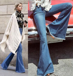 Womens cotton Flare Bell Bottom Bootcut Jeans Ladies Flared Denim Faded Wide Leg
