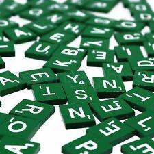 100 Wood Scrabble Tiles - Green Color - 1 Complete Set - Game Crafts Weddings