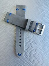 22mm Thick GRAY Crazy Horse Leather Watch Straps Quick Release BLUE stitch