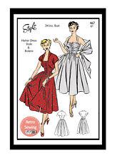 1950s Halter Dress Vintage Sewing Pattern -  Pin up - Rockabilly - Copy