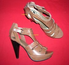 "Guess Browm 5"" Heel Opentoe Womens Shoes 10 New 1"" Platform Strappy Sandal Mary"