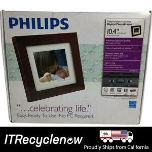 """Philips 10"""" LED Brown Wood Frame Picture Wall Digital Desk Photos Panel"""