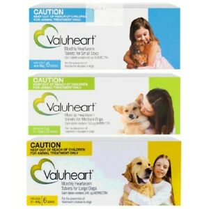 Valuheart Heartworm Tablets for Small/Medium/Large - 6 Pack - Monthly Dosage