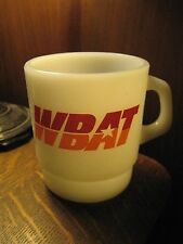 WBAT Talk AM Radio Marion Indiana USA Vintage Galaxy Milk Glass Coffee Mug Cup