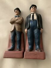 1973 Vintage Laurel And Hardy Figure Bookends Ceramichrome California Ceranmic