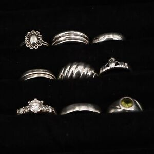 VTG Sterling Silver - Lot of 9 Assorted Solid & Gemstone Rings NOT SCRAP - 32.5g