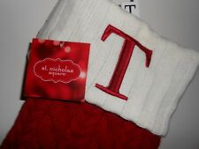 "New 21"" St Nicholas Square Monogram Red Cable Knit Christmas Stocking T ~ ""T"""