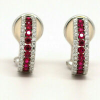 1.50Ct Round Cut Red Ruby Diamond Leverback Hoop Earrings 14K White Gold Finish