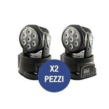 X 2 PROIETTORI LED RGB TESTA MOBILE ROTANTE EFFETTI DISCO DISCOTECA 18 LED LUCE