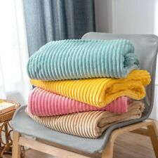 Flannel Blankets For Beds Solid Striped Mink Throw Sofa Cover Bedspread Winter