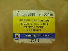 Square D 8010 CC-160 Sy/Max Symax 25' 25 Pin Rs-232-C Cable Mod 43 Printer NEW