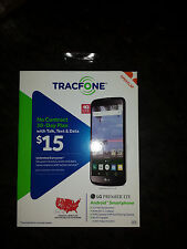 LG PREMIER cell Smartphone TRACFONE 1350 minutes text data in MB 5.3 inch New