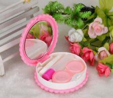 Aufbewahrungsbox für Kontaktlinsen mit Kontaktlinsenbehälter + Pinzette Rosa