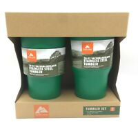 Ozark Trail 30oz Double-wall Vacuum-sealed Stainless Steel Green Tumbler Set NEW