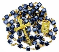 Square Blue Crystal Beads Rosary Catholic Necklace Lourdes Medal Cross Crucifix