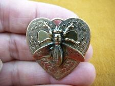 (b-bug-152) Horse fly insect bug heart shaped pin brass flower brooch love lover