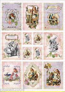 12 Alice im Wunderland  Bügelbilder auf  A4  NO. 979  Nostalgie pur