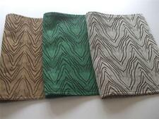 "3 Reversible Fabric Placemats Safari Print Green Wood Mocha color 19"" x 13"" New"