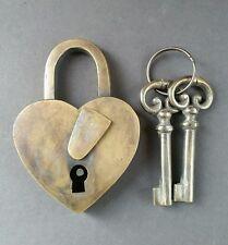 """Vintage Love Valentines Heart Lock Skeleton Keys Brass Antique 3 3/4"""" #L1"""
