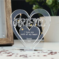 Personalised Heart with Message Ornament Keepsake Friend Birthday Gift