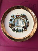 "Vintage Yellowstone National Park 24kt Gold Edged 9"" Porcelain Souvenir Plate"