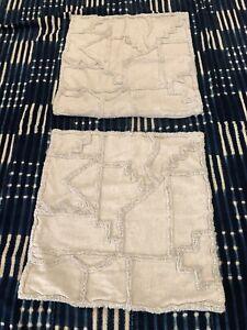 West Elm 20x20 Moroccan Boho Linen Blend Pillow Cover Pair Textured Beige