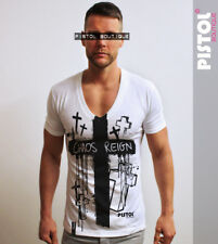 Pistol Boutique Profundo Escote en V para hombre Blanco caos reinado Cruz Camiseta Medio De Venta