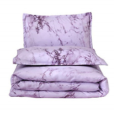 A Nice Night Marble Design Quilt Comforter Set Bed-in-a-Bag,Queen Purple-Marble