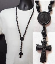 Black Rosary Jesus Praying Hands Beaded Long Necklace Chain Crystal Ball Woven