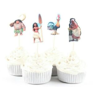MOANA MAUI CUPCAKE TOPPERS PICKS  BIRTHDAY PARTY SUPPLIES FAVOURS