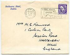 IRELAND SHELBOURNE HOTEL DUBLIN ENVELOPE 1968 to HARPENDEN GB...5p FRANKING