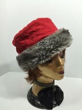 RED QUILTED FUR TRIM BUCKET STYLE HAT by NINE WEST size S/M