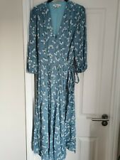 Boden Aurora Blue Heron Floral Midi Wrap Dress - Sz 14 - ASO