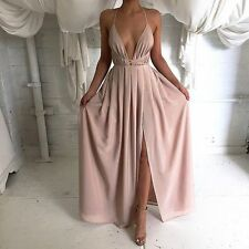 Dusty Pink Satin Slit Strappy Gown Maxi Dress Boutique Size XS-L Celeb Style