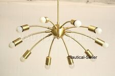 MID-CENTURY 10 LIGHTS BRUSHED  SPUTNIK CHANDELIER PENDANT FIXTURE LIGHT