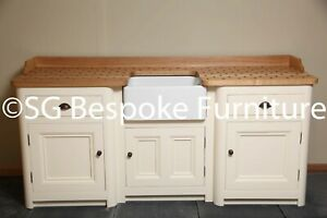 Hand Made Free Standing Sink Unit with Belfast Sink & painted in F&B New White