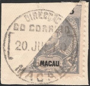 MACAO, 1903. King Carlos Yang 130a Bisect On Piece