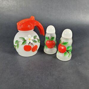 Vintage HAZEL ATLAS Frosted Glass Salt Pepper Shaker Syrup Set Hand Painted