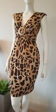Cache animal print stretchy buckle dress V-neck sz 2 XS NWT $158