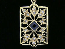 P022 Genuine 9K SOLID Yellow Gold NATURAL Sapphire & DIAMOND Filigree Pendant
