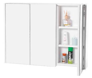 3 Shelves White Wall Mounted Bathroom/ Powder Room Mirrored Door Vanity Cabinet