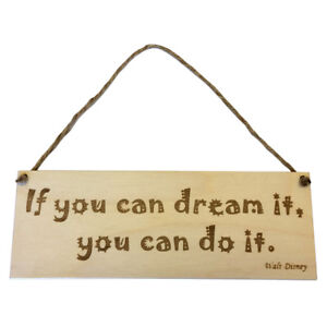 Motivation Dream Quote Hanging Door Sign Wall Plaque Wooden Engraved Friend Gift