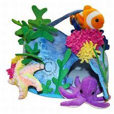 Peluche-riff + 4 dedos muñecas delfin, payaso, estrella de mar y pulpo