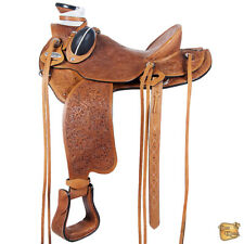15 In Western Horse Wade Saddle Leather Ranch Roping Tan Hilason