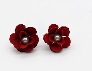 Vintage 50's Style Red Flower Floral Pearl Stud Earrings Gift Dress Accessory