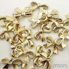 10Pcs Plastic Bow Knot Gold Pendant Applique Wedding Decor Sewing Bow Center