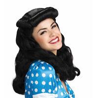 Perruque noire longue cheveux ondulés coiffure frange roulée bangs rétro vintage
