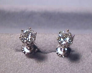 Moissanite Earrings 1 carat twt Screwback 14K White 6 prong Charles and Colvard